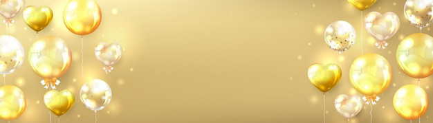 Horizontale gouden ballonnen achtergrond