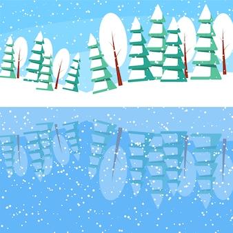 Horizontale het landschapsbanner van de winter vlakke stijl