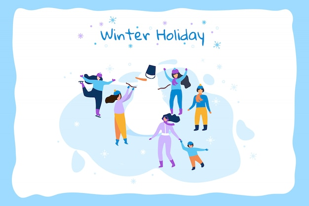 Horizontale illustratie winter vakantie blauw frame.