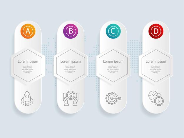 Horizontale infographic presentatie element sjabloon met zakelijke pictogram 4 opties