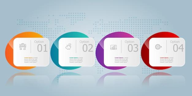 Horizontale infographic presentatie-elementsjabloon met zakelijke pictogram 4 opties vector afbeelding achtergrond