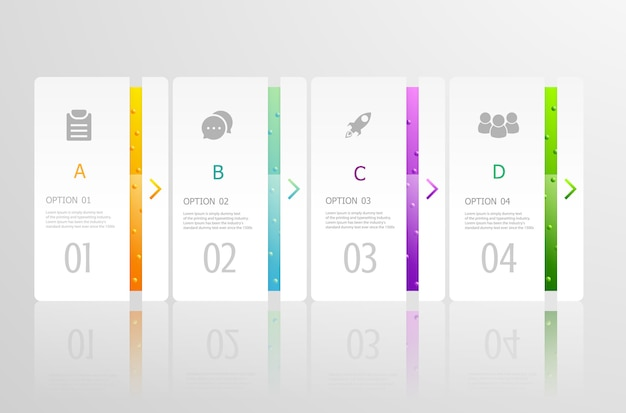 Horizontale infographics 4 stappen