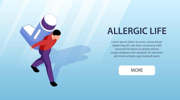 Horizontale isometrische banner met man met allergie astma-geneeskunde te houden