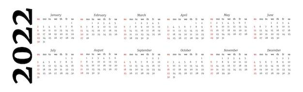 Horizontale kalender voor 2022 geïsoleerd op een witte achtergrond. zondag tot maandag, zakelijke sjabloon. vector illustratie