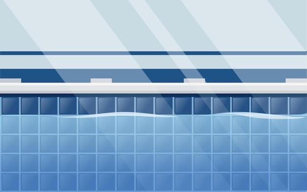 Horizontale lay-out van professioneel zwembad met vlakke vectorillustratie van het water zijaanzicht