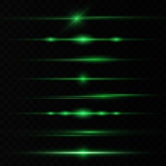 Horizontale lens flakkert laserstralen