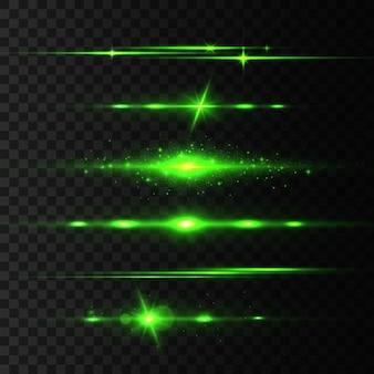 Horizontale lens flares pack, laserstralen, mooie lichtflare. lichtstralen. glow line, heldere gouden schittering. gloeiende strepen. lichtgevend abstract sprankelend.
