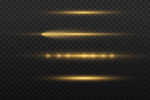 Horizontale lichtstralen, flitsgeel horizontaal lensfakkelspakket, laserstralen, gloed gele lijn, mooie lichte gloed, heldere gouden schittering, vectorillustratie