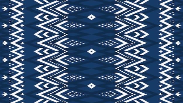 Horizontale marineblauwe aziatische etnische geometrische oosterse ikat naadloze traditionele patroon. ontwerp voor achtergrond, tapijt, behangachtergrond, kleding, inwikkeling, batik, stof. borduurstijl. vector