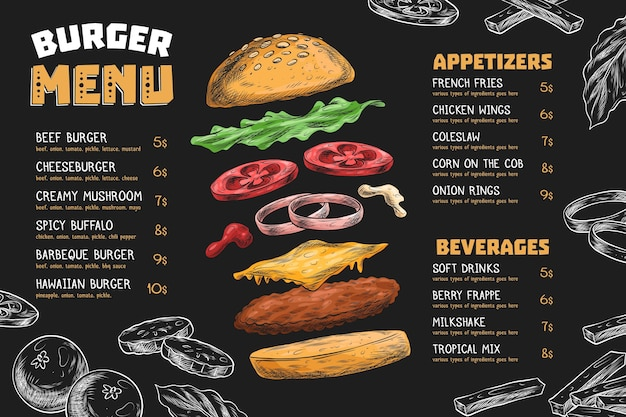 Horizontale menusjabloon met hamburger