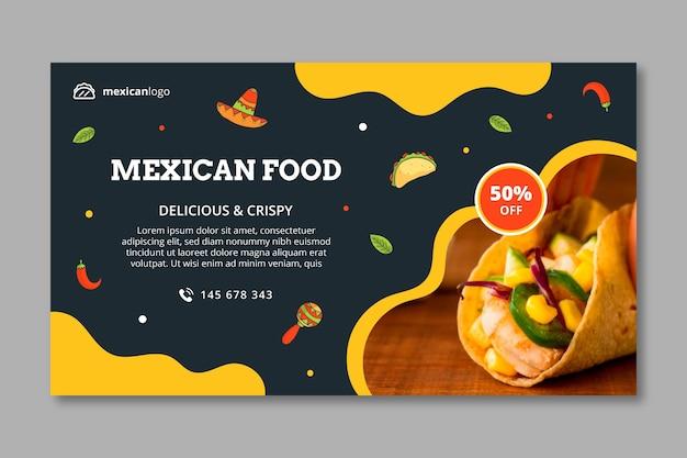 Horizontale mexicaans eten sjabloon voor spandoek