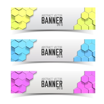 Horizontale moderne banner met veelkleurige honingraten