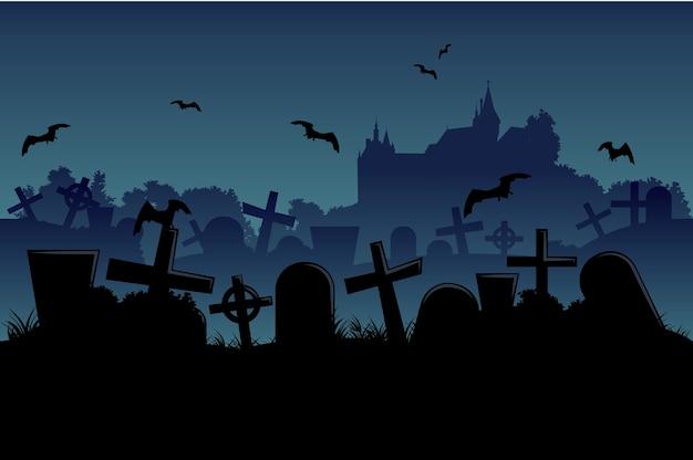 Horizontale naadloze begraafplaats en kasteelhalloween-landschap