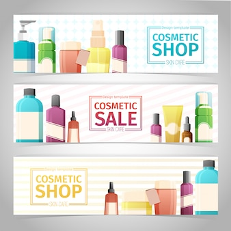 Horizontale ontwerpbanners over cosmetica winkel. ontwerp met flessen, tube decoratieve cosmetica.