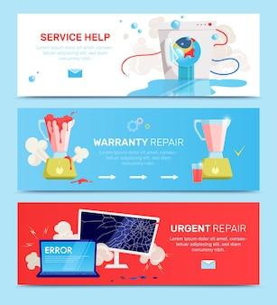 Horizontale platte banner van gebroken huishoudelijke apparaten gadgets set met service hulp garantie reparatie