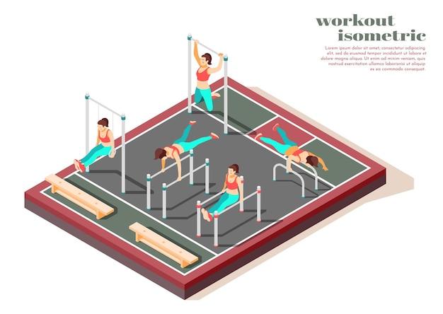 Horizontale pull-ups met parallelle staven en gymnastiekringen totale lichaamstraining voor vrouwen isometrische compositie