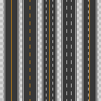 Horizontale rechte naadloze wegen, wegen, snelwegen