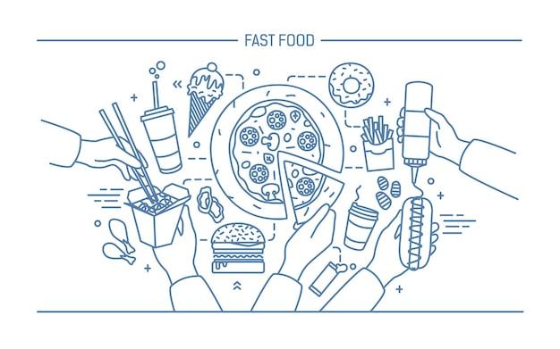 Horizontale reclamebanner met fastfood. samenstelling met producten hotdog met mosterd, pizza, noedels, donut, ijs, frietjes, hamburger, ola. monochroom lineart vectorillustratie.