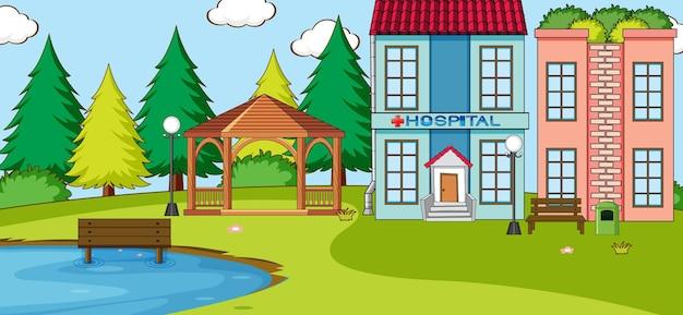Horizontale scène met het ziekenhuis die openluchtscène bouwt
