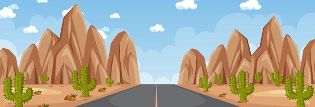 Horizontale scène met lange weg door woestijn overdag