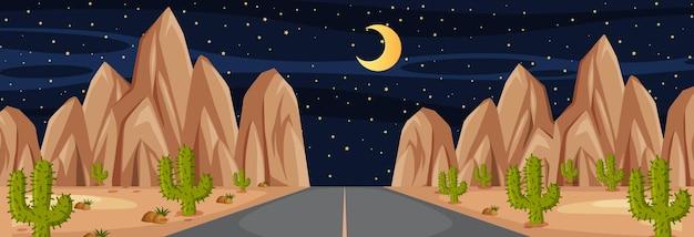 Horizontale scène met lange weg door woestijn 's nachts