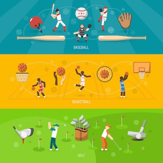 Horizontale set van sportbanners