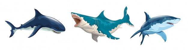 Horizontale set van verschillende haaien. verschillende haaien in beweging en verschillende kleuren