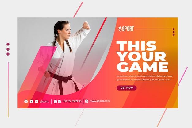 Horizontale sjabloon voor spandoek voor sportactiviteiten