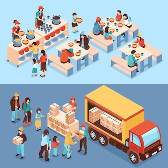 Horizontale spandoeken voor humanitaire steun met vrijwilligers die voedsel uitdelen aan behoeftigen en isometrische voeding van arme mensen
