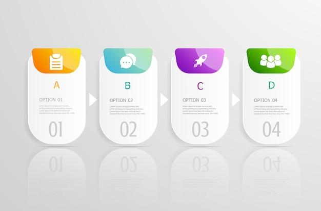 Horizontale tijdlijn infographics 4 stappen voor presentatie