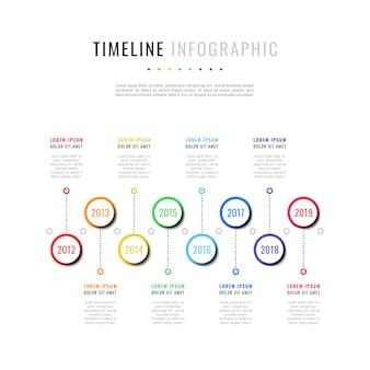 Horizontale tijdlijn met acht ronde elementen, jaaraanduiding en tekstvakken. eenvoudig processchema voor brochure, banner, jaarverslag