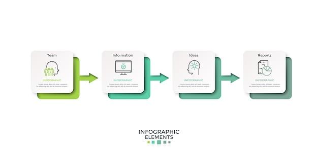 Horizontale tijdlijn met vier papieren witte vierkanten of kaarten verbonden door gradiënt gekleurde pijlen. infographic ontwerp lay-out. vectorillustratie voor de visualisatie van het proces van het bereiken van vier stappen in vier stappen.