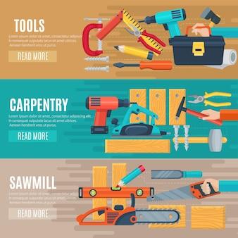 Horizontale timmerwerk platte banners set van woodworker tools kit en houtzagerij apparatuur