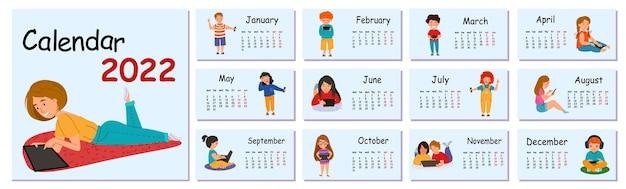 Horizontale vector kalender ontwerpsjabloon voor 2022, plat ontwerp. kalender voor 2022 voor het huis met kinderen met gadgets. de week begint op maandag.