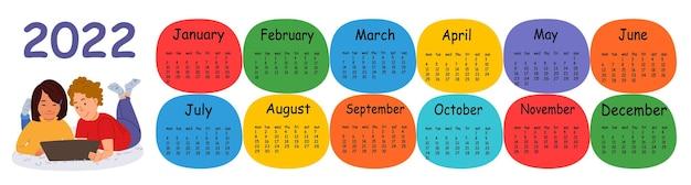 Horizontale vector kalender ontwerpsjabloon voor 2022, plat ontwerp. kalender voor het jaar 2022 voor een huis met een jongen en een meisje met een tablet. de week begint op maandag.