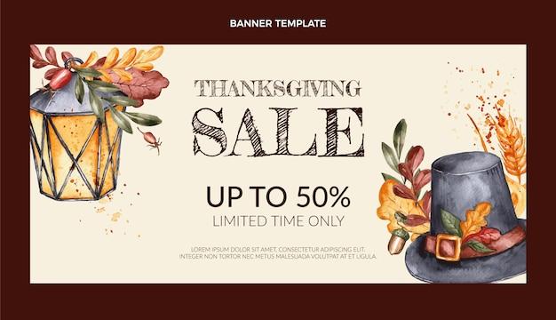 Horizontale verkoopbanner voor aquarel thanksgiving