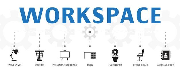 Horizontale werkruimte banner concept sjabloon met eenvoudige pictogrammen. bevat pictogrammen als tafellamp, vuilnisbak, presentatiebord en meer