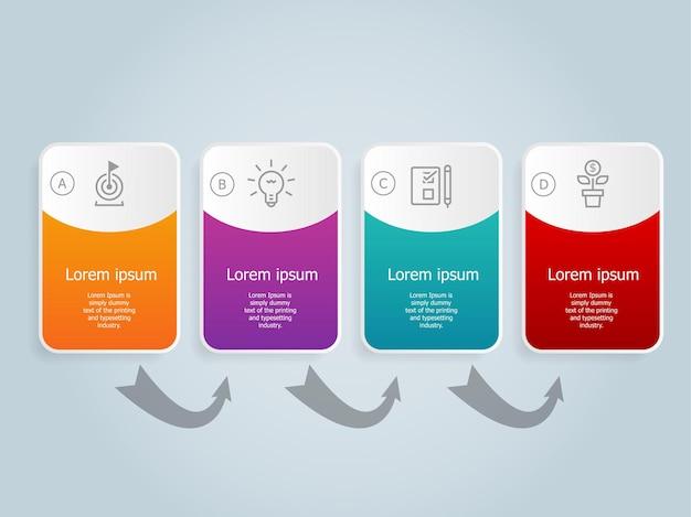 Horizontale zakelijke infographics sjabloon ontwerpen met pictogrammen 4 stappen of optie