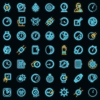 Horloge reparatie pictogrammen instellen. overzicht set horloge reparatie vector iconen neon kleur op zwart