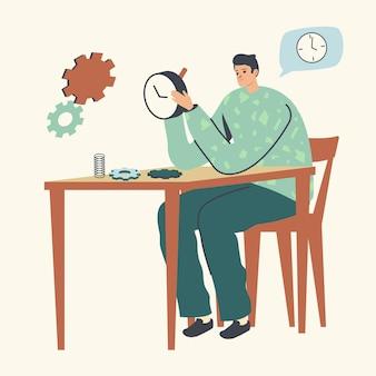 Horlogemakerkarakter dat mechanische horloges of wekker repareert. illustratie uurwerkservice, onderhoud
