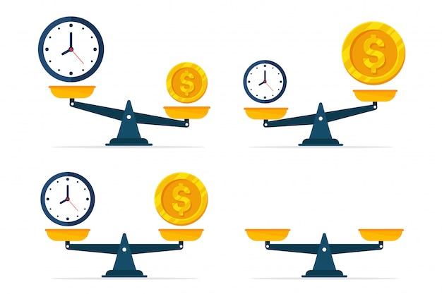 Horloges en geld staan op een weegschaal.