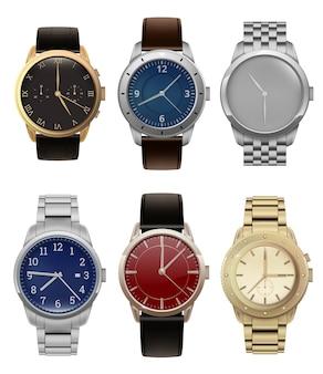 Horloges. realistische luxe zilveren en gouden herenhorloges met moderne modecollectie van stalen armbanden. illustratie klok met polshorloge, handaccessoire