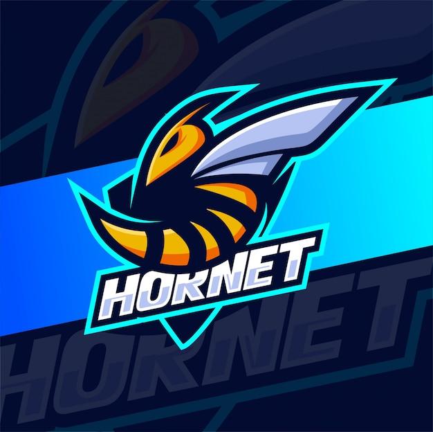 Hornet bee mascotte esport logo ontwerp