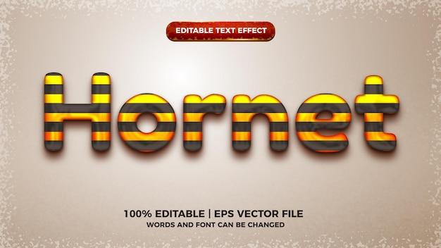 Hornet-spel bewerkbare teksteffect 3d-sjabloonstijl
