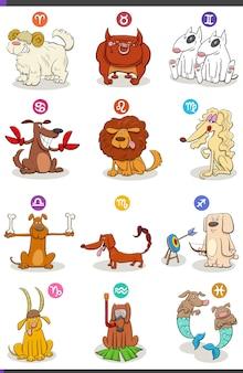 Horoscoop sterrenbeelden ingesteld met stripfiguren van honden