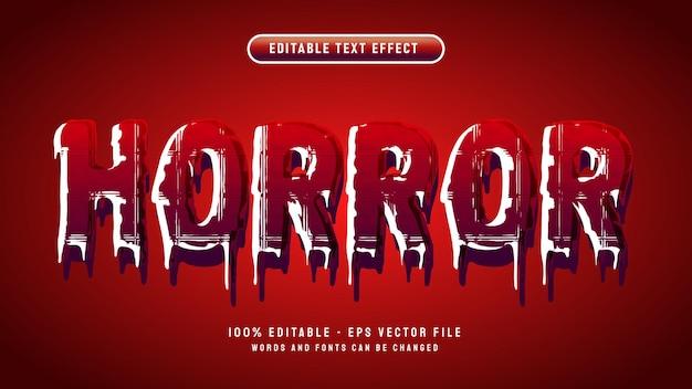 Horror 3d vloeibare bewerkbare teksteffect vector illustratie sjabloon