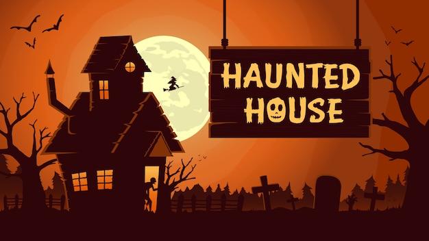 Horror achtergrond met spookhuis bij volle maan nacht.