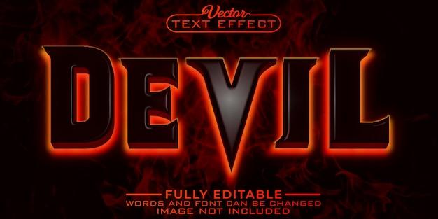 Horror devil fire bewerkbare teksteffectsjabloon