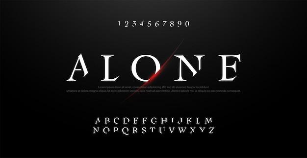 Horror, enge film alfabet typografie lettertype ingesteld.