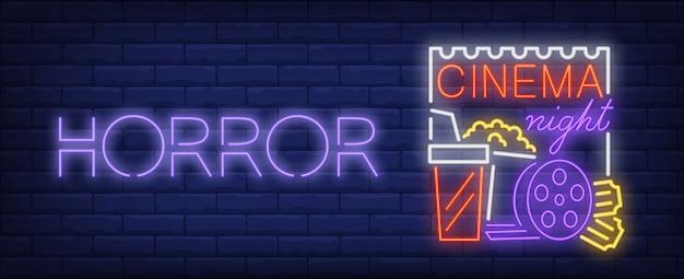 Horror nacht neon teken. popcorn, cola en filmrol op poster. heldere reclame